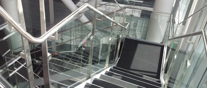 Balustrade made of stainless steel with glass