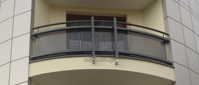 Balustrade made of powder-coated steel with perforated steel sheet