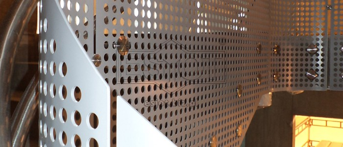 Powder-coated perforated steel balustrade