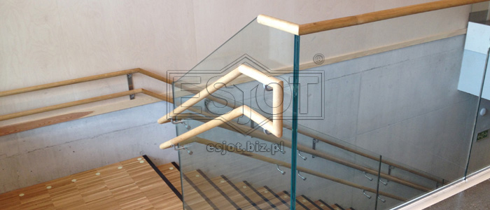 Glass balustrade with wooden handrail